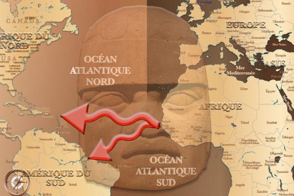 AMEìRIQUE - AFRIQUE SCULPTURE GEìANTE SUR CARTE
